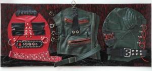 Bavorské maso, kůže, kov, dřevo, 2012, 40,5 x 95 cm
