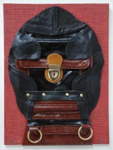 Madamme, kůže, koženka, kov, dřevo, 2012, 40,5 x 30 cm